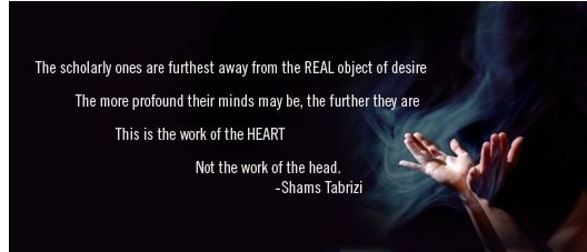 The scholarly ones are furthest away from the real object of desire. The more profound their minds may be, the further they are. This is the work of the heart, not the work of the head. -Shams Tabrizi